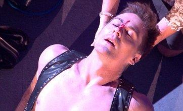 Jorgie Porter slices open partner Matt Evers' face on Dancing On Ice