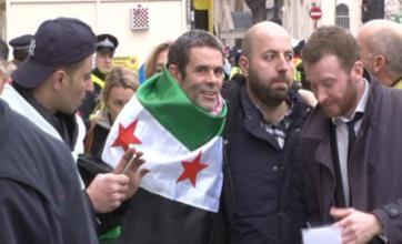 Paul Conroy attends anti-Assad protest outside Syrian embassy