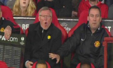 Sir Alex Ferguson has subs board dropped on him during Man Utd defeat