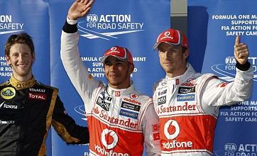 Australian Grand Prix: Lewis Hamilton and Jenson Button lock out front row