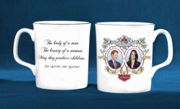 Prince Harry's face printed on William and Kate royal wedding souvenir mug