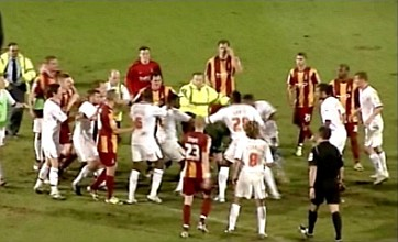 Five players sent off following brawl after Crawley Town's win at Bradford