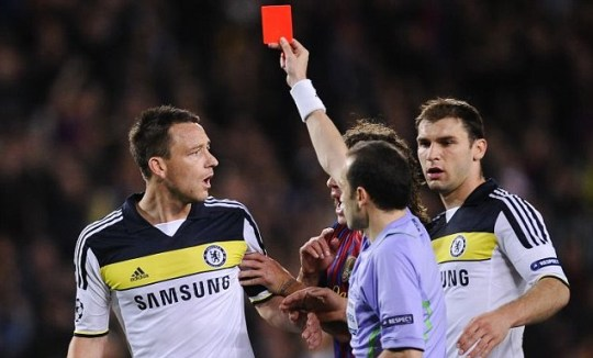 John Terry red card Barcelona v Chelsea Alexis Sanchez