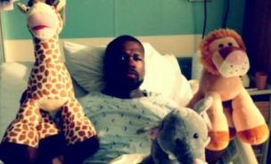 50 Cent posted this surreal snap on Twitter from his hospital bed (Pic: Twitter)