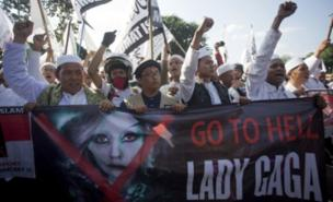 Lady Gaga's planned show sparked protests in Jakarta (AFP/Getty Images)