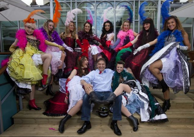 Raymond Blanc with the Can-Can girls at Covent Garden Brasserie Blanc
