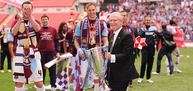 West Ham co-owner David Gold celebrates
