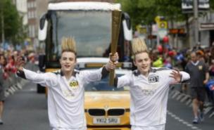 Jedward were on hand to carry the Olympic torch in the Republic of Ireland (Getty)