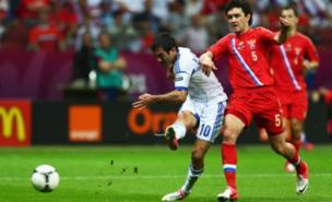 Giorgos Karagounis scored the vital goal for Greece (AFP/Getty Images)
