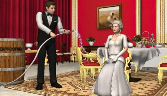 The Queen is seen preparing for her Diamond Jubilee celebrations in this Taiwanese cartoon