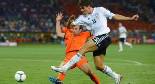 Joris Mathijsen, Mario Gomez, Germany v Holland Euro 2012