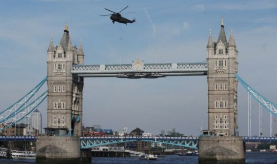Tower Bridge, helicopters