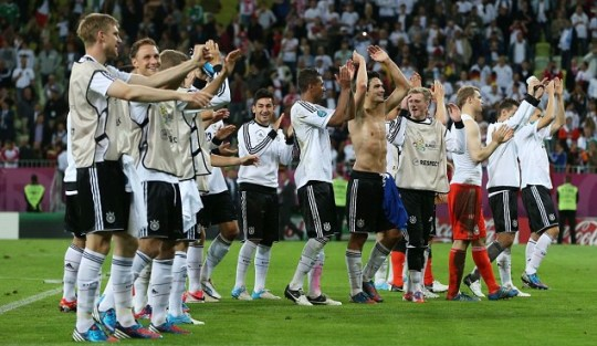 The German players applaud the fans after victory in the UEFA EURO 2012 quarter final match between Germany and Greece at The Municipal Stadium on June 22, 2012 in Gdansk, Poland.  (Photo by Alex Grimm/Getty Images)