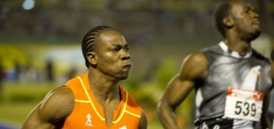 Yohan Blake (L) beat Usain Bolt (R), Olympic trials.