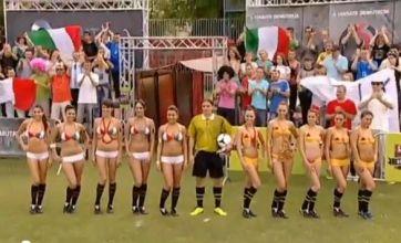 Hungarian TV recreates Spain v Italy with bikini models