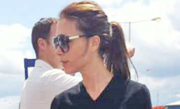 Victoria Beckham shows off her slim frame as she makes her way to Dublin