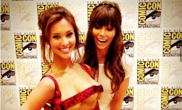 Jessica Biel cosies up to Total Recall's three-breasted woman at Comic Con