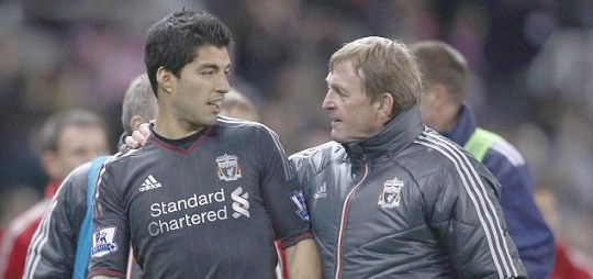 Liverpool manager Kenny Dalglish and Luis Suarez