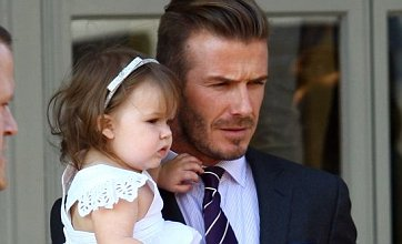 David, Victoria and Harper Beckham do lunch ahead of Olympic ceremony