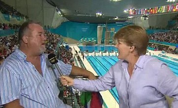 Swimmer's dad becomes TV hero after son's famous triumph