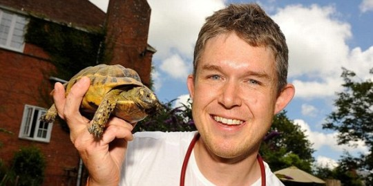 Dr Ben Waterfall with his tortoise