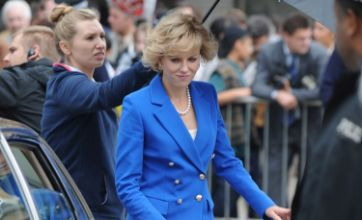 Naomi Watts looks regal in blue suit as she shoots Princess Diana biopic
