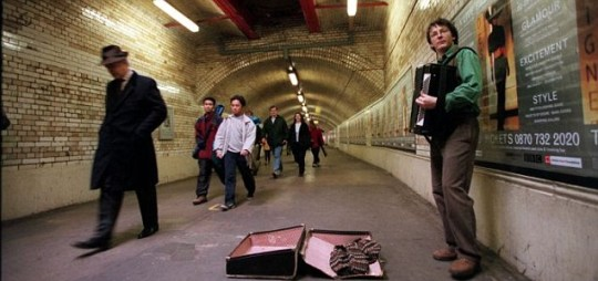 Buskers playing in the London Underground