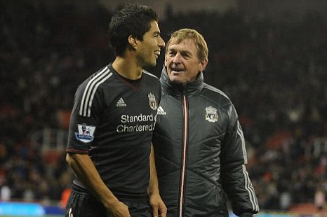 Luis Suarez and former Liverpool manager Kenny Dalglish.