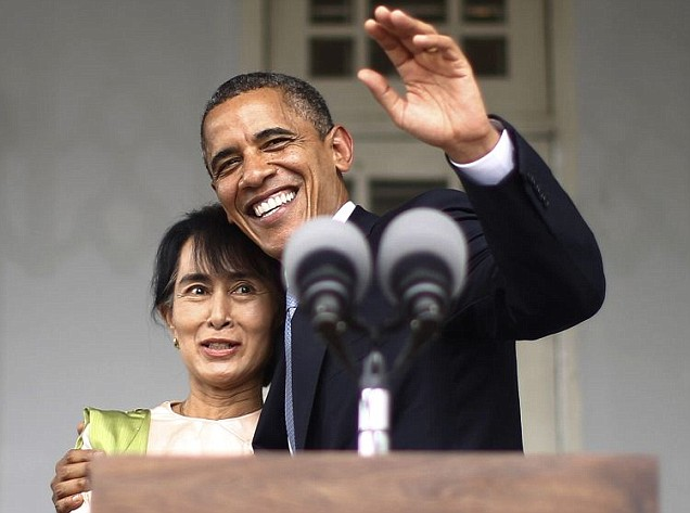 US president Barack Obama meets opposition leader Aung San Suu Kyi during his historic Burma trip