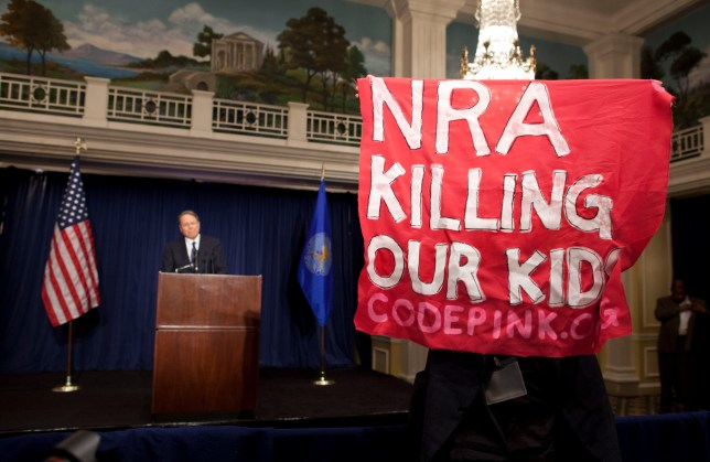 protests, Wayne LaPierre, NRA press conference