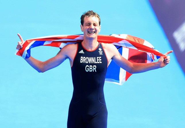 Mission accomplished: Brownlee crosses the line to win Olympic gold last summer (Picture: PA)