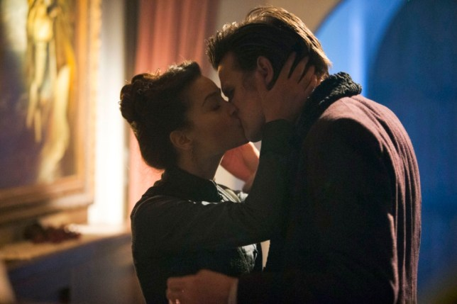 Matt Smith and Jenna-Louise Coleman kiss in the Doctor Who Christmas special