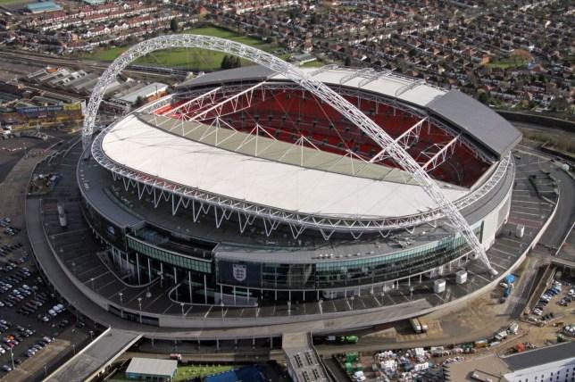 Aerial image of Wembley Stadium, London.