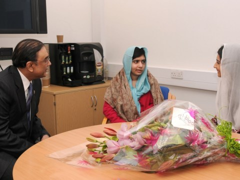 Taliban shooting schoolgirl Malala visited by Pakistani president in Birmingham