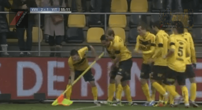 Clever: Venlo players thank the fans for clearing the pitch with a shovel inspired celebration (Picture: YouTube)