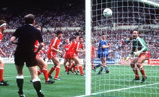 Cup king: Lawrie Sanchez's header beats Bruce Grobbelaar for the winner at the 1988 FA Cup final (Picture: ALLSPORT)