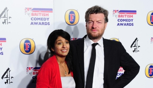 Konnie Huq and Charlie Brooker at Comedy Awards