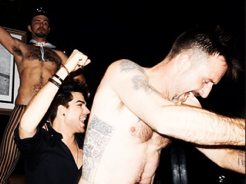 David Arquette performs a surprise lap dance for birthday boy Adam Lambert