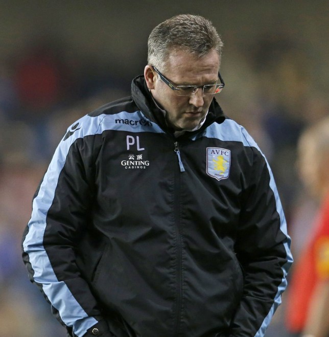 Aston Villa manager Paul Lambert reacts during their FA Cup fourth round soccer match agaist Millwall at The Den in London