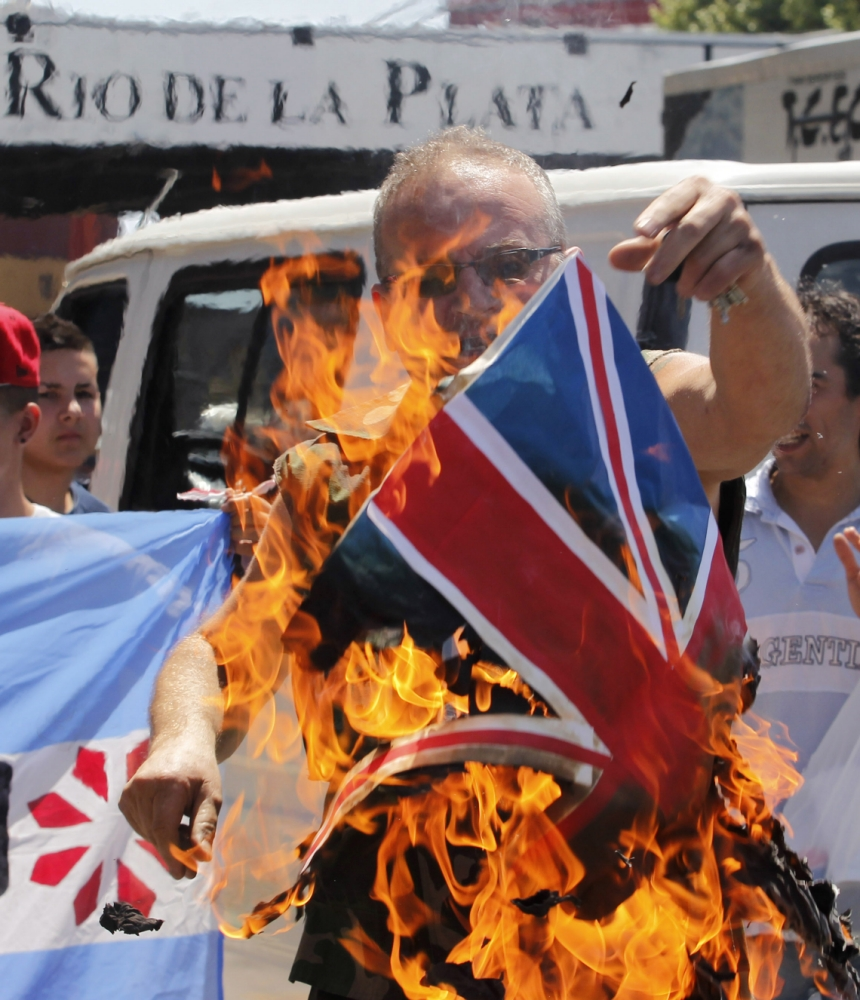 British flags burnt in Argentina after The Sun's Falklands Islands advert