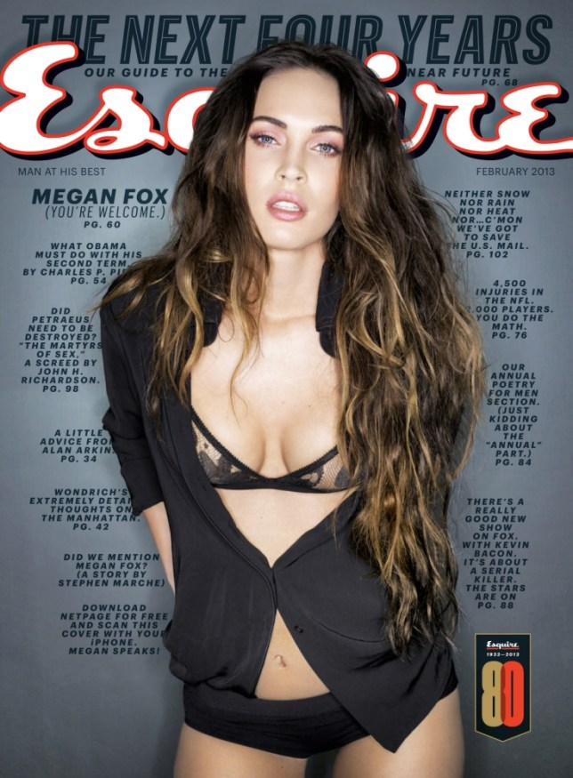 Megan Fox on the cover of the February 2013 issue of Esquire magazine