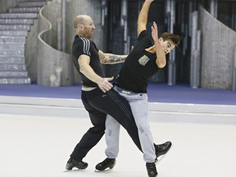 Gareth Thomas takes down Matt Lapinskas in Dancing On Ice rehearsals