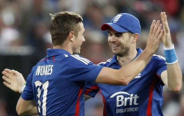 James Anderson of England congratulates Chris Woakes