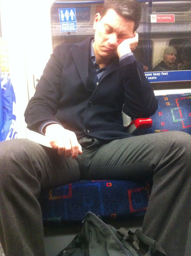 Labour MP David Miliband caught napping on Tube with his trouser zip undone