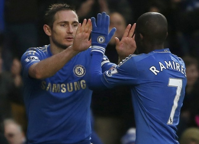 World Cup in his sights: Lampard celebrates his goal yesterday with team-mate Ramires (Picture: Reuters)