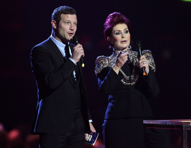 Sharon Osbourne and Dermot O'Leary on stage during the 2013 Brit Awards