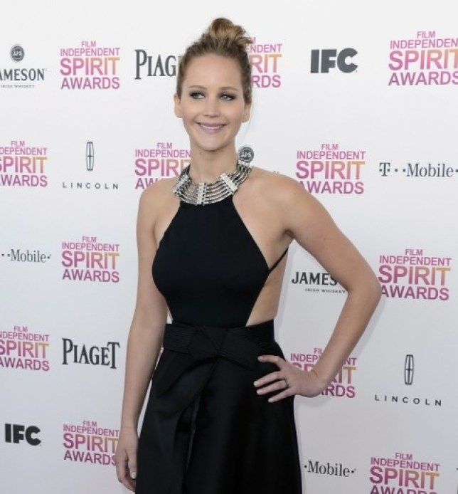 SANTA MONICA, CA - FEBRUARY 23: Actress Jennifer Lawrence attends the 2013 Film Independent Spirit Awards at Santa Monica Beach on February 23, 2013 in Santa Monica, California. (Photo by Frazer Harrison/Getty Images)