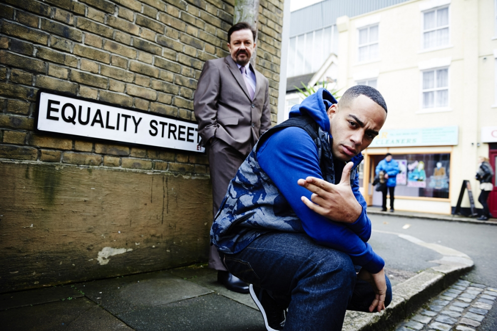 Gervais in character as David Brent on Equality Street (Picture: BBC)