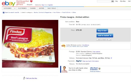 Horse Meat Scandal Findus Beef Lasagne For Sale On Ebay Metro News