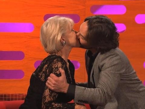 Dame Helen Mirren and Paul Rudd kiss on The Graham Norton Show
